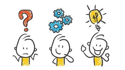 3 Strichfiguren machen sich Gedanken Fragezeichen Zahnräder Idee